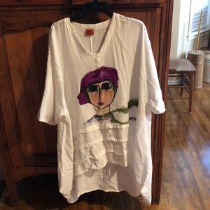 Hand painted sharkbite tucked shirt